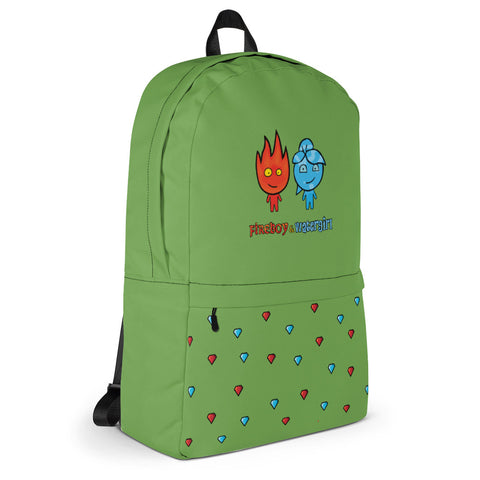 Fireboy&Watergirl Backpack with Diamonds (Green)