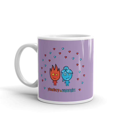 Image of Fireboy&Watergirl Mug with Diamonds (Purple)