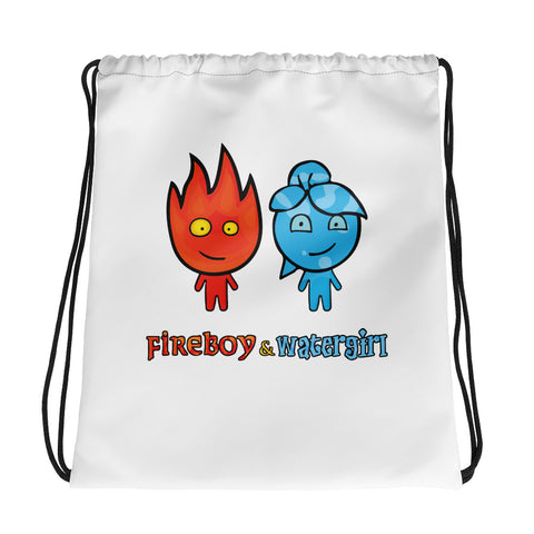 Fireboy&Watergirl Drawstring Bag (White)