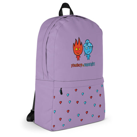 Image of Fireboy&Watergirl Backpack with Diamonds (Purple)
