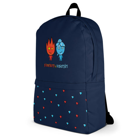 Image of Fireboy&Watergirl Backpack with Diamonds (Navy Blue)