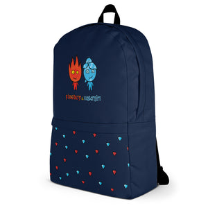 Fireboy&Watergirl Backpack with Diamonds (Navy Blue)