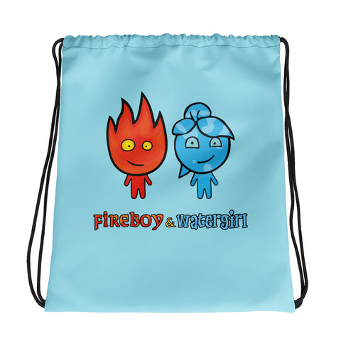 Fireboy&Watergirl Drawstring Bag (Light Blue)