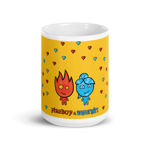 Image of Fireboy&Watergirl Mug with Diamonds (Yellow)