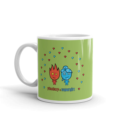 Image of Fireboy&Watergirl Mug with Diamonds (Green)