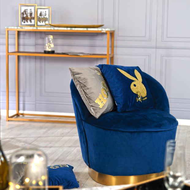 "PLAYBOY - Sessel ""STELLA"" gepolsterter Cocktail-Sessel mit Rückenlehne, Samtstoff in Blau mit goldenem Metallfuss, Retro-Design,Sessel & Sitzhocker - playboy"