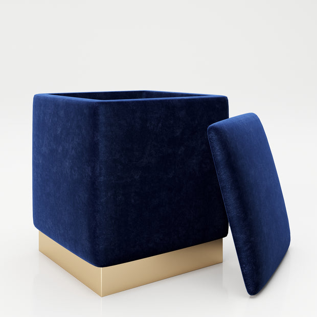 "PLAYBOY - eckiger Pouf ""BETTY"" gepolsterter Sitzhocker mit Stauraum, Samtstoff in Blau, goldener Metallfuss, Retro-Design,Sessel & Sitzhocker - playboy"