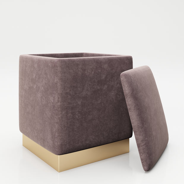 "PLAYBOY - eckiger Pouf ""BETTY"" gepolsterter Sitzhocker mit Stauraum, Samtstoff in Rosa, goldener Metallfuss, Retro-Design,Sessel & Sitzhocker - playboy"