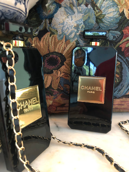 Chanel Perfume Bottle iPhone Cover | Case (Black)