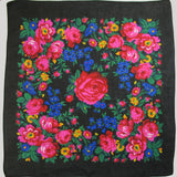 Big Rose Large Black Scarf
