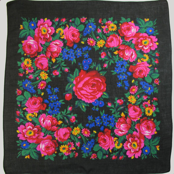 Big Rose Non-Metallic Black Scarf