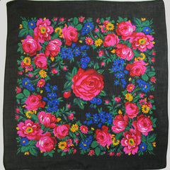 "Rose Scarf Black 30""x30"""