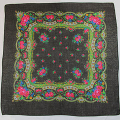 "Floral Metallic Scarf Black 30""x30"""