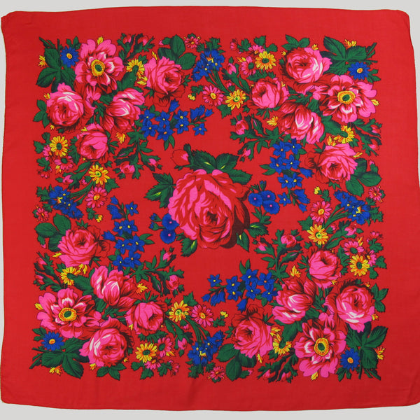 Big Rose Non-Metallic Red Scarf