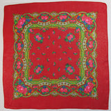 "Floral Metallic Scarf Red 30""x30"""