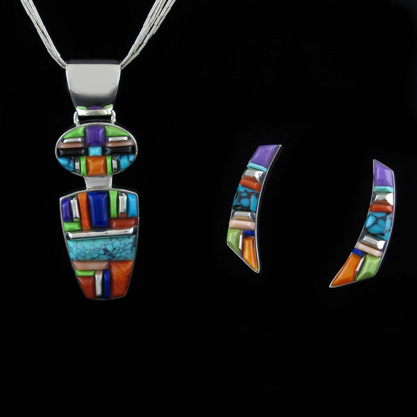 Multi Stone Corn Row Pendant Earring Set