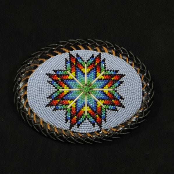 Beaded Lakota Sioux Blue Belt Buckle