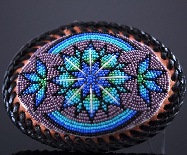 Purple Lakota Sioux Beaded Belt Buckle