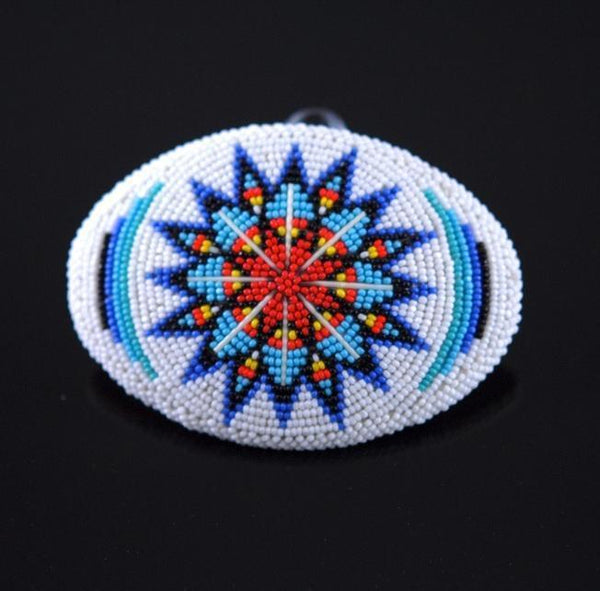 White Beaded Belt Buckle