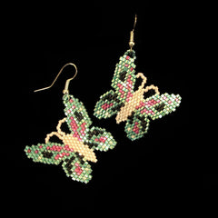 Iris Green Beaded Butterfly Earrings