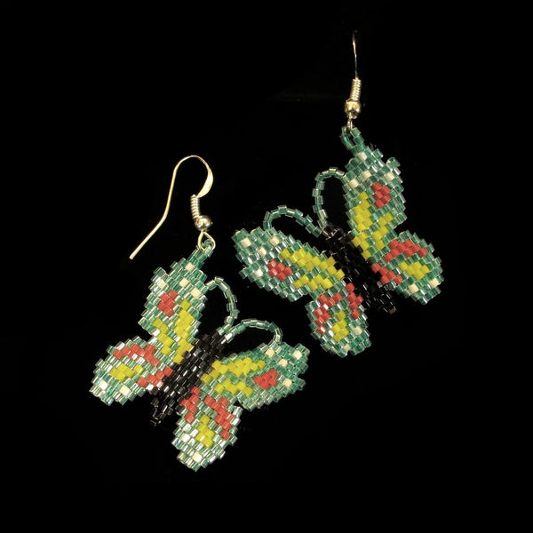 Green Beaded Butterfly Earrings