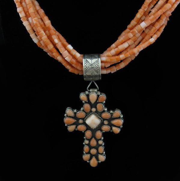 Pink Coral Cross Necklace