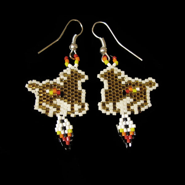 Gold Beaded Pony Earrings