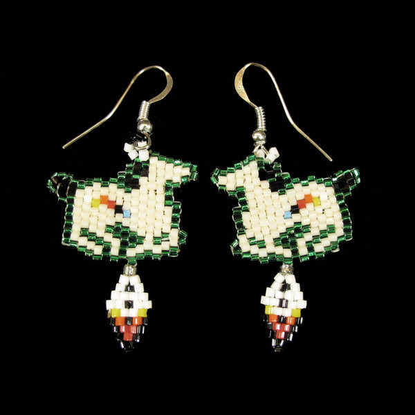Green Beaded Pony Earrings