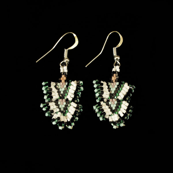Green Dancing Lady Beaded Earrings