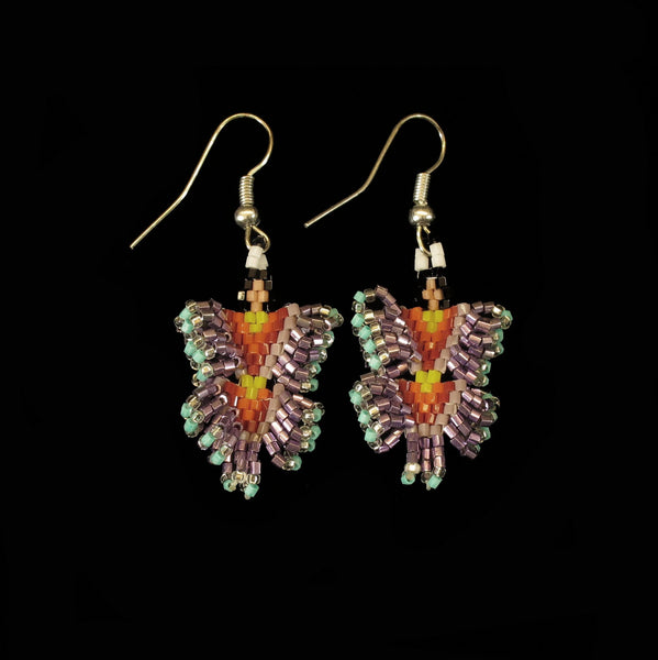 Shiny Purple Dancing Lady Beaded Earrings