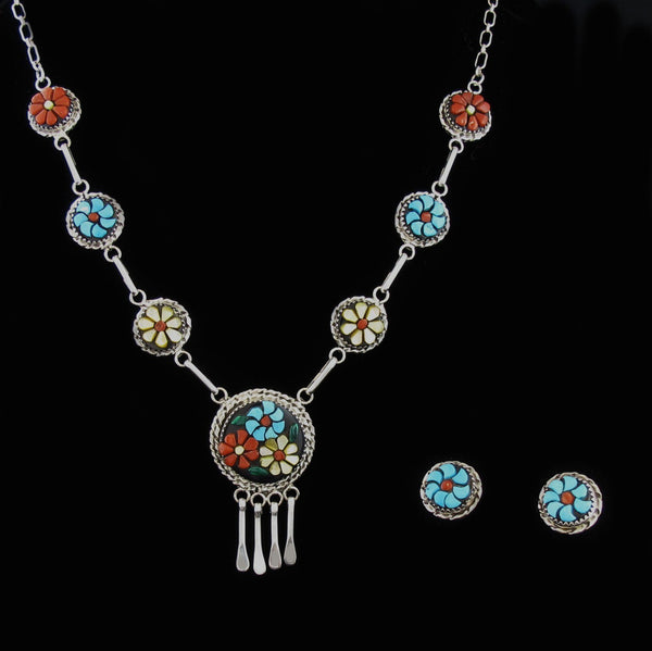 Zuni Floral Necklace Earring Set
