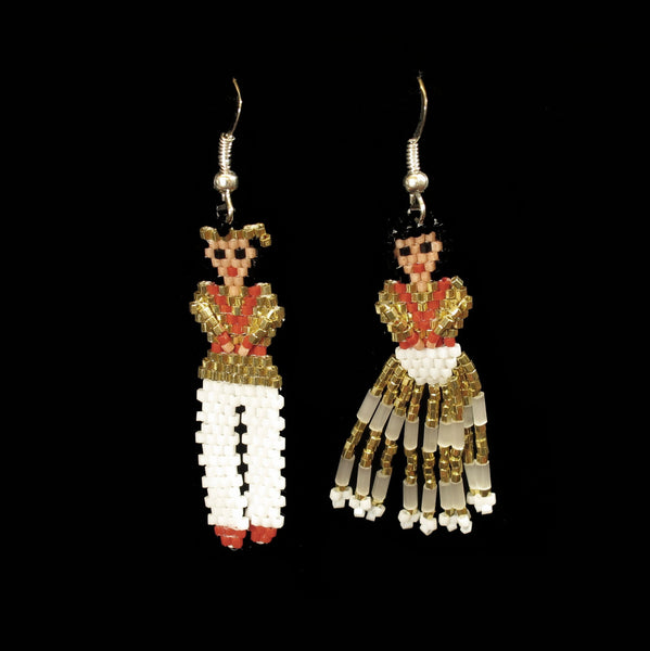Man And Lady Beaded Earrings