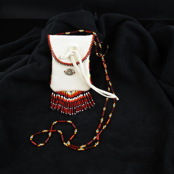 Red Beaded Pouch