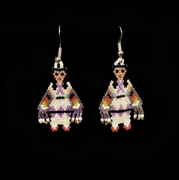 White Shawl Dancer Beaded Earrings