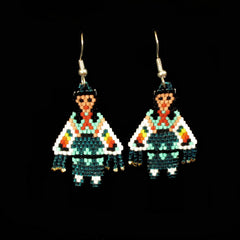 Green Shawl Dancer Beaded Earrings