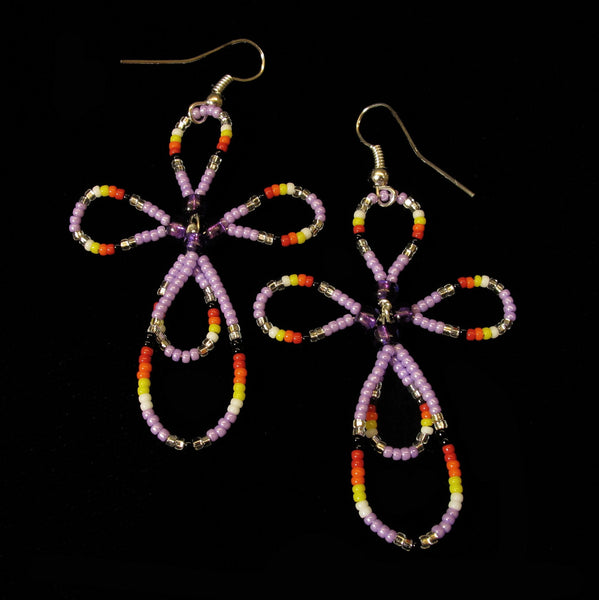 Purple Cross Beaded Earrings