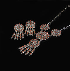 Red Coral Pendant Earring Set