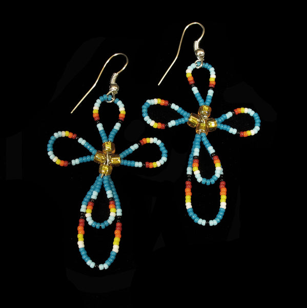 Blue Beaded Cross Earrings