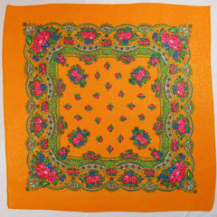 "Floral Metallic Scarf Orange 30""x30"""