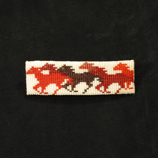 Red Horse Beaded Barrette