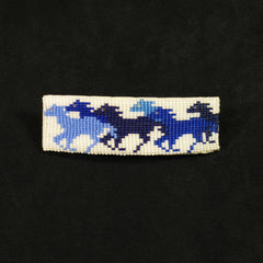 Blue Horse Beaded Barrette