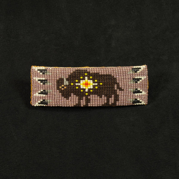 Lavendar Beaded Buffalo Barrette