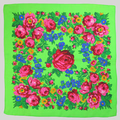 "Rose Scarf Neon Green 30""x30"""