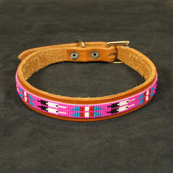 Pink Beaded Dog Collar