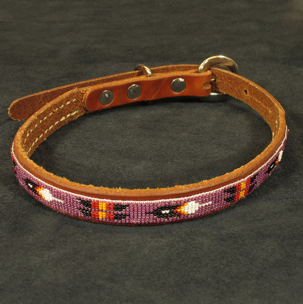 Purple Beaded Dog Collar