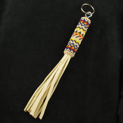 Cream Beaded Key Chain
