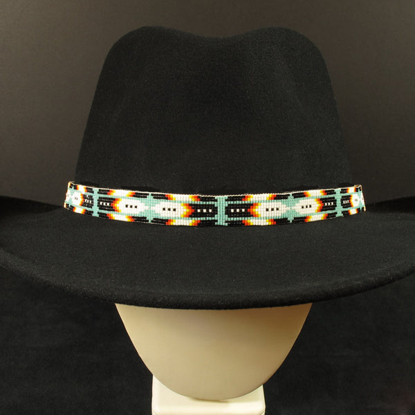 Blue Feather Beaded Hat Band