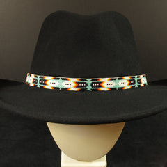 Blue Feather Beaded Hatband