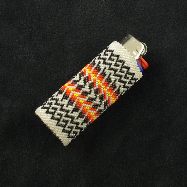 Beaded White Lighter Case