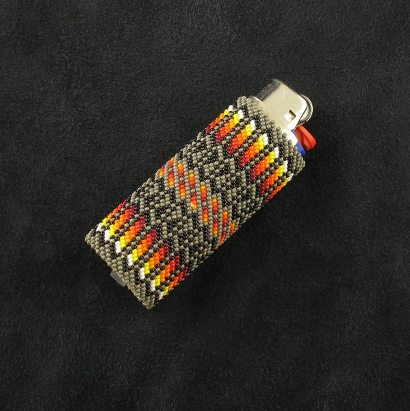 Beaded Khaki Lighter Case